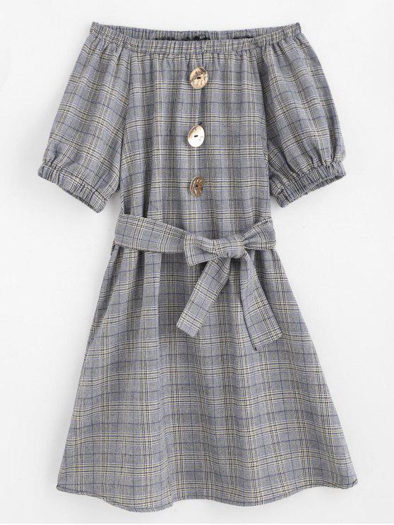 shops Off Shoulder Belted Plaid Dress - GRAY M