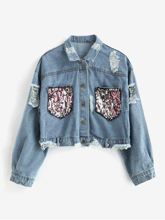 outfits Ripped Denim Jacket with Sequins - BLUE ONE SIZE