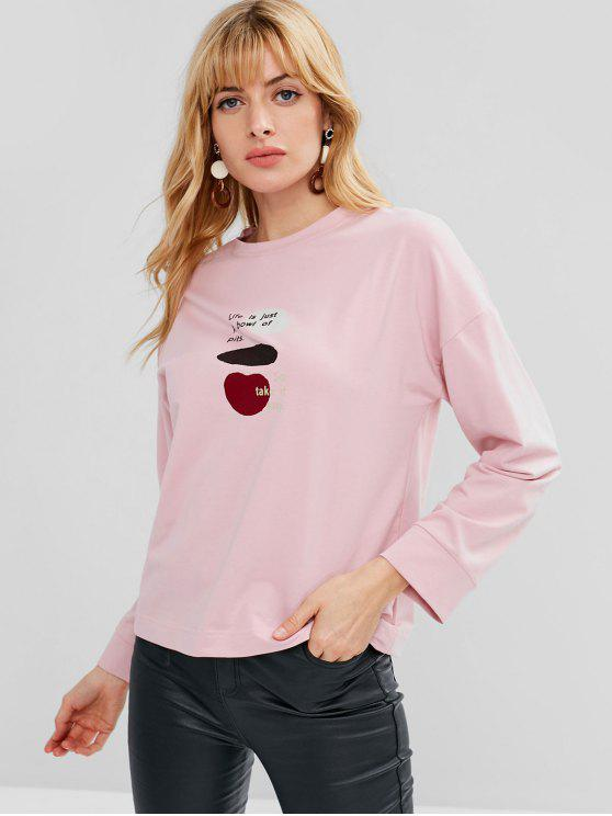 shop Cute Letter Graphic Sweatshirt - LIGHT PINK ONE SIZE