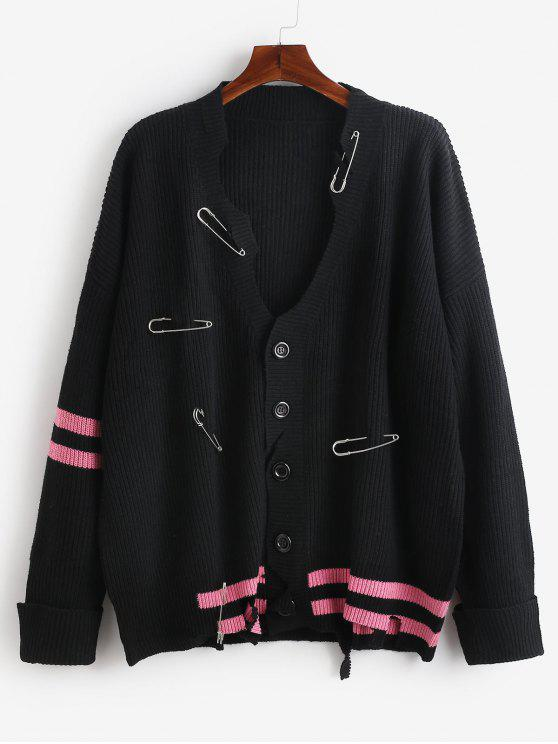 women Safety Pins Decor Cut Out Cardigan - BLACK 2XL