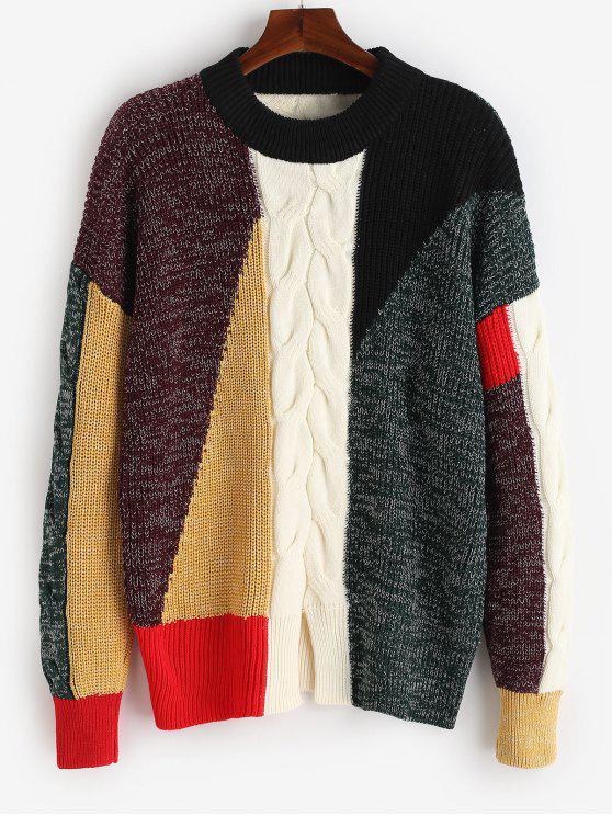 ladies Color Block Patchwork Knit Sweater - MULTI-A 2XL