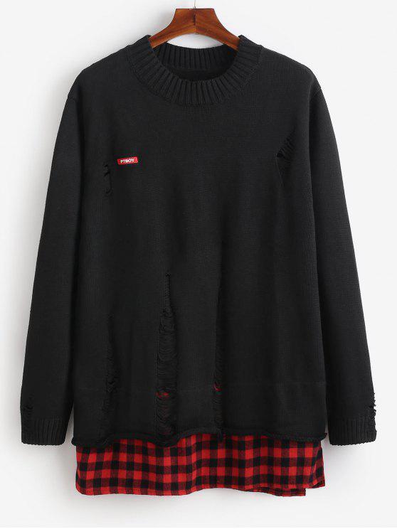 Suéter de punto rasgado con remiendo de cuadros escoceses - Negro XL