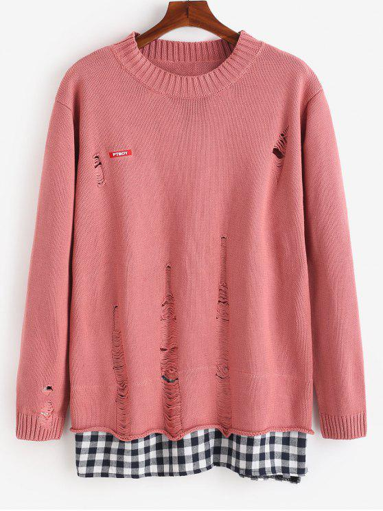 trendy Plaid Hem Patchwork Ripped Knit Sweater - PINK XL