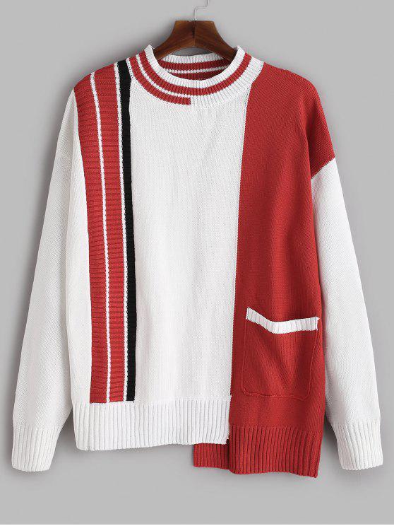 Pull en Tricot Contrasté avec Poches à Ourlet Asymétrique - Blanc XL