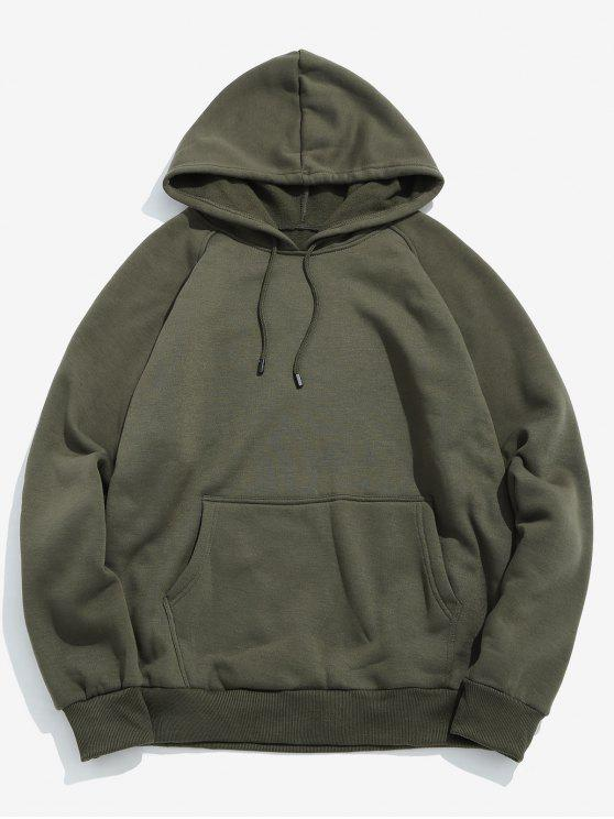womens Basic Solid Pouch Pocket Fleece Hoodie - ARMY GREEN L