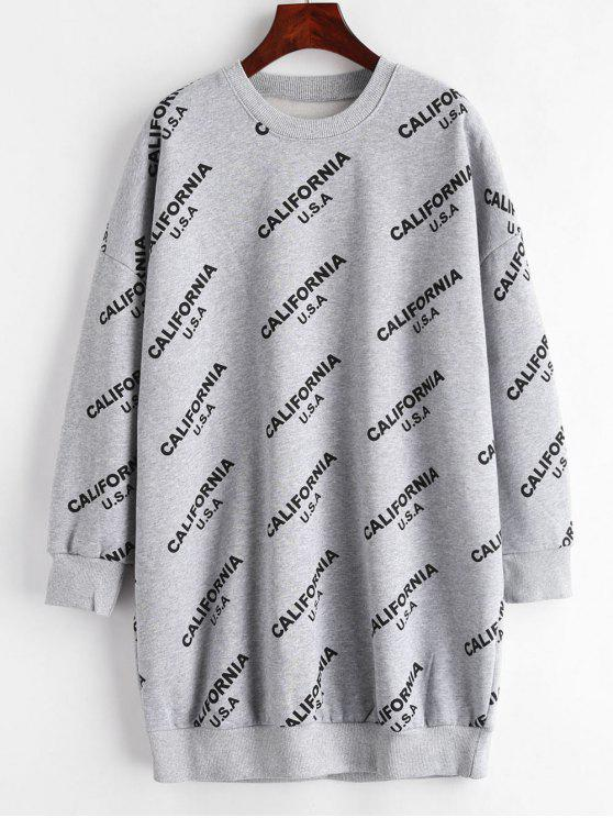 unique Letter Drop Shoulder Sweatshirt Dress - DARK GRAY L