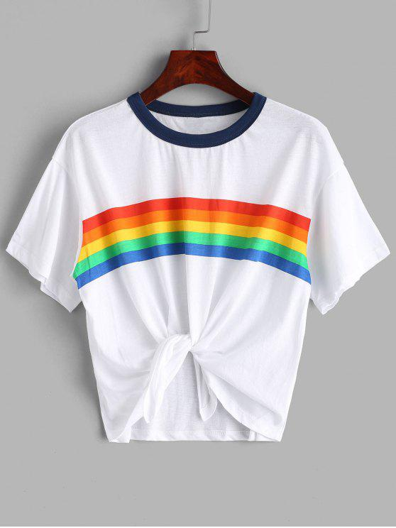 sale Rainbow Stripe Graphic Jersey Tee - WHITE M
