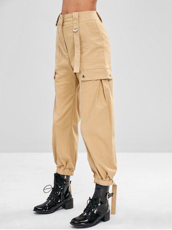 womens High Waisted Cargo Pants - LIGHT KHAKI M