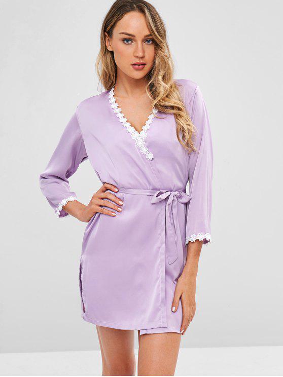 hot Lace Trim Satin Slip Dress and Sleep Robe - MAUVE XL