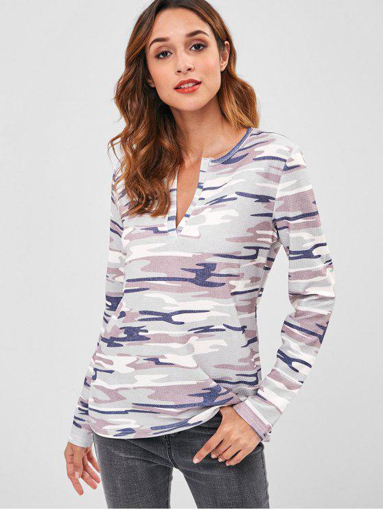 T-shirt Camouflage Imprimé Manches Longues à Col Fendu - ACU Camouflage S