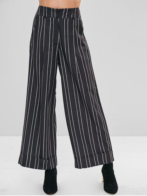 women's Striped High Waisted Wide Leg Pants - BLACK S