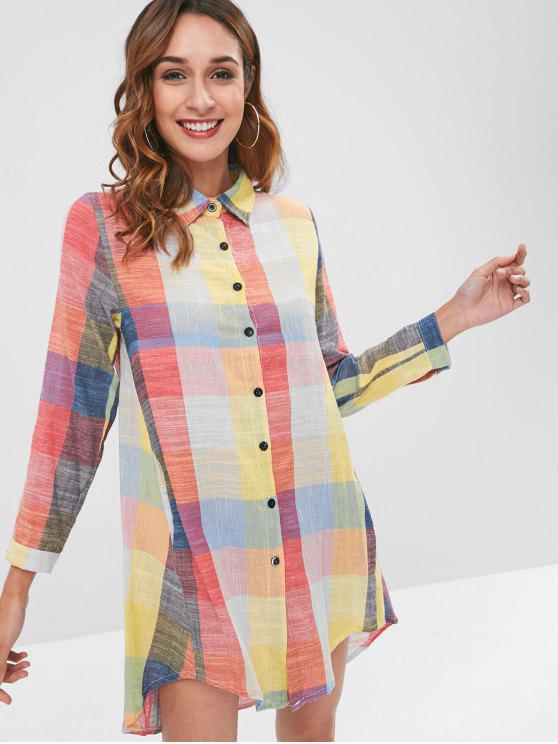 trendy Colored Checker Print Shirt Dress - MULTI ONE SIZE