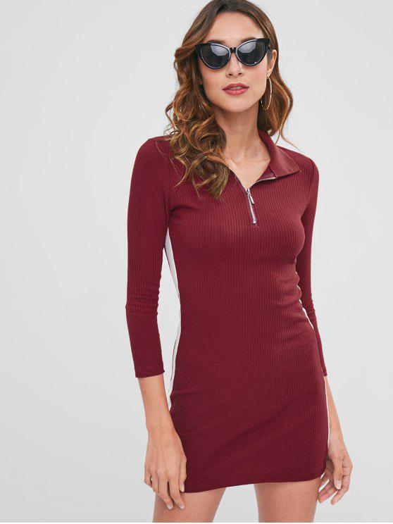 shops Contrast Bodycon Dress with Half Zipper - RED WINE ONE SIZE