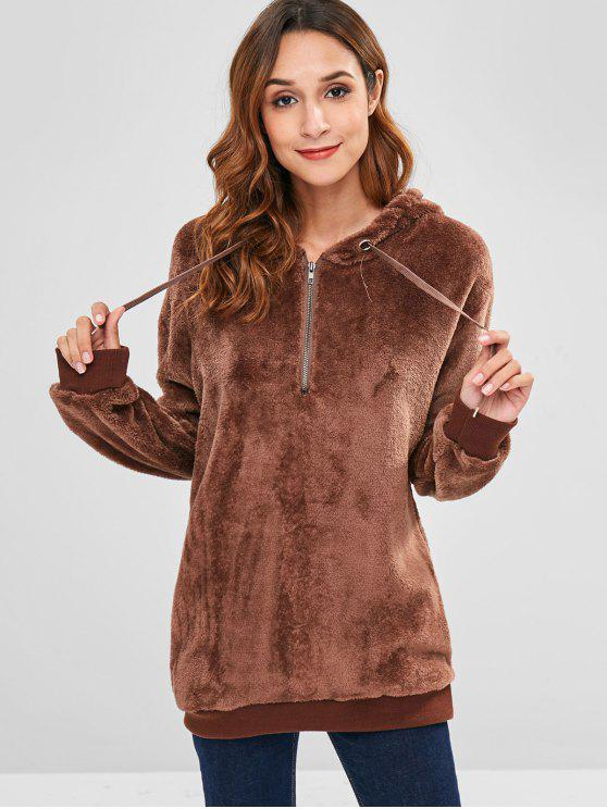 best Pullover Furry Hoodie with Half Zipper - COFFEE M