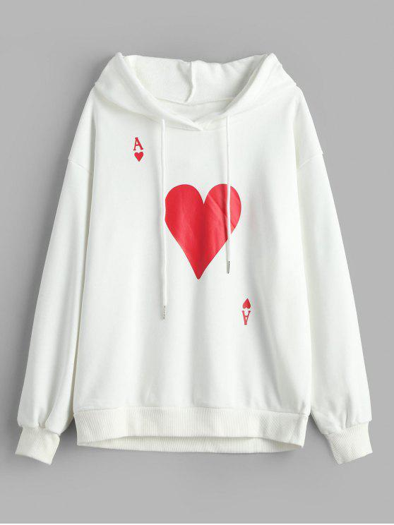 new Playing Card Poker Graphic Pullover Hoodie - WHITE M
