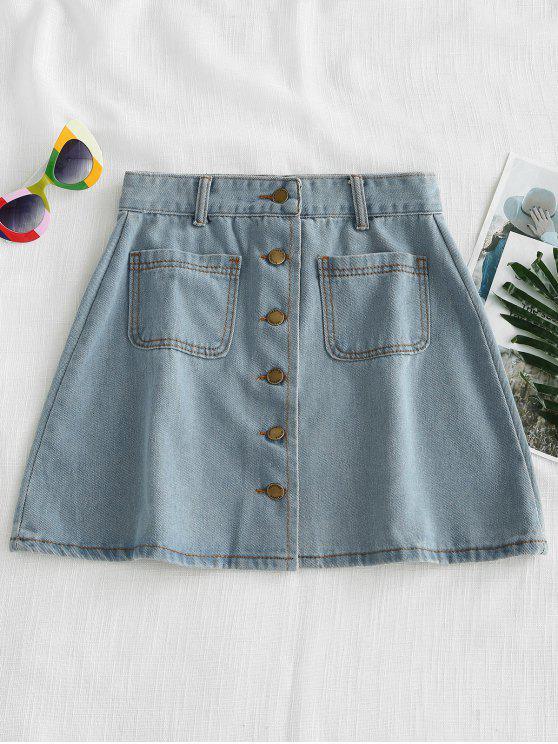 Button Up Denim Saia - Jeans Azul L