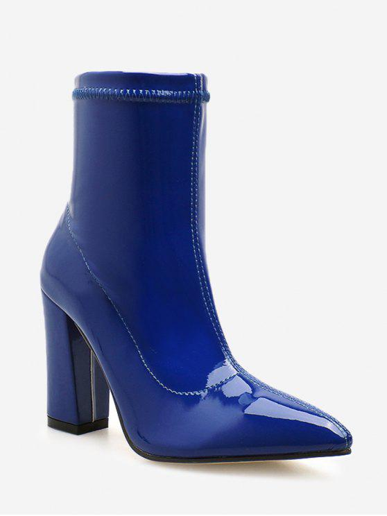 fancy Chunky Heel Patent Leather Ankle Boots - COBALT BLUE EU 37