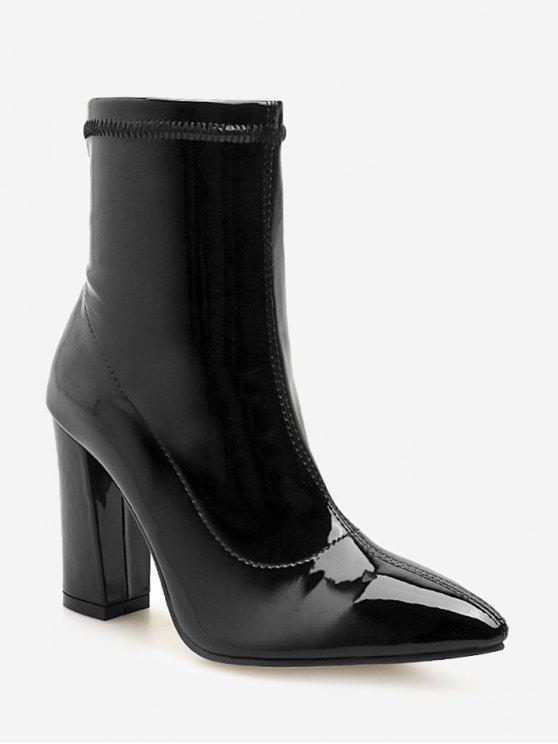 Botas de tornozelo de couro de patente de salto robusto - Preto UE 39