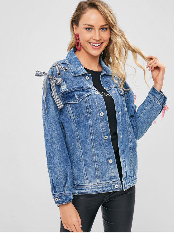 chic Grommet Lace Up Sleeve Denim Jacket - BLUE M