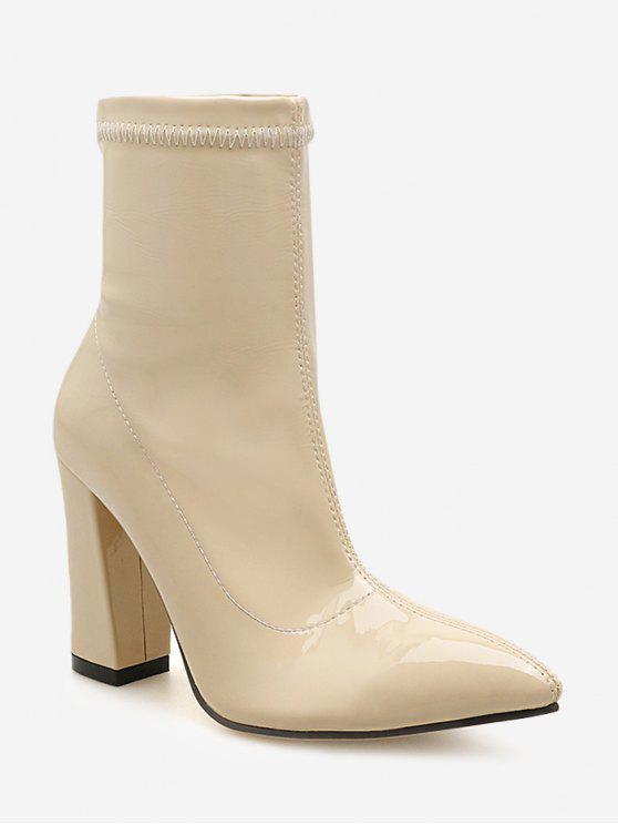 Botas de tornozelo de couro de patente de salto robusto - Branco Quente UE 39
