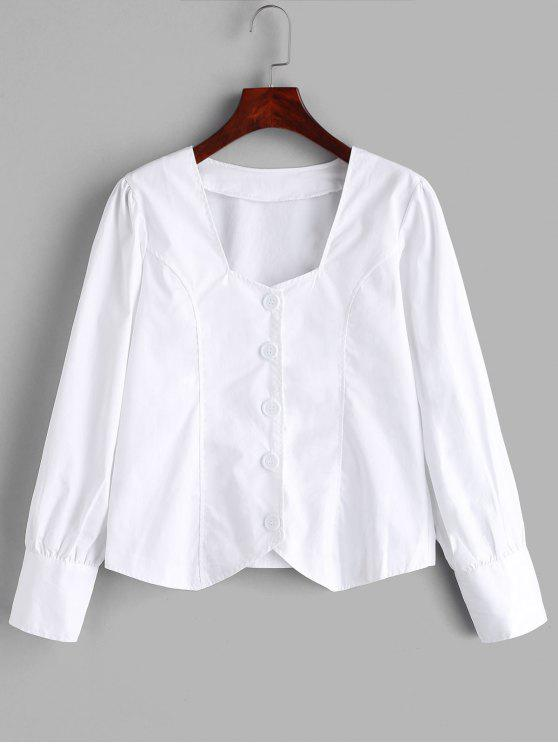 lady Button Up Sweetheart Blouse - WHITE L