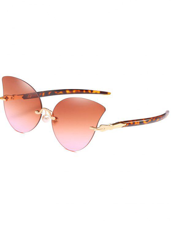 Gafas de sol antifaz con almohadillas de nariz de perlas artificiales - Sandy Brown