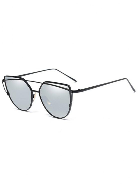 Óculos de sol de lente plana de barra transversal vintage - Prata