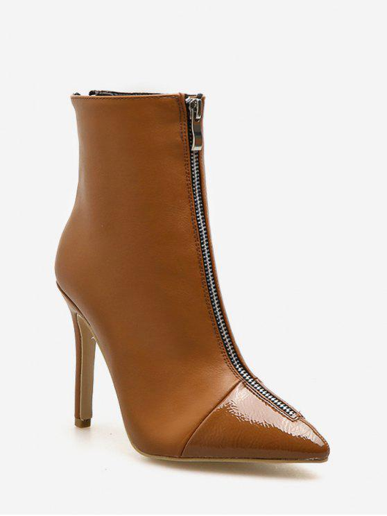 ladies Pointed Toe High Heel Ankle Boots - LIGHT BROWN EU 39