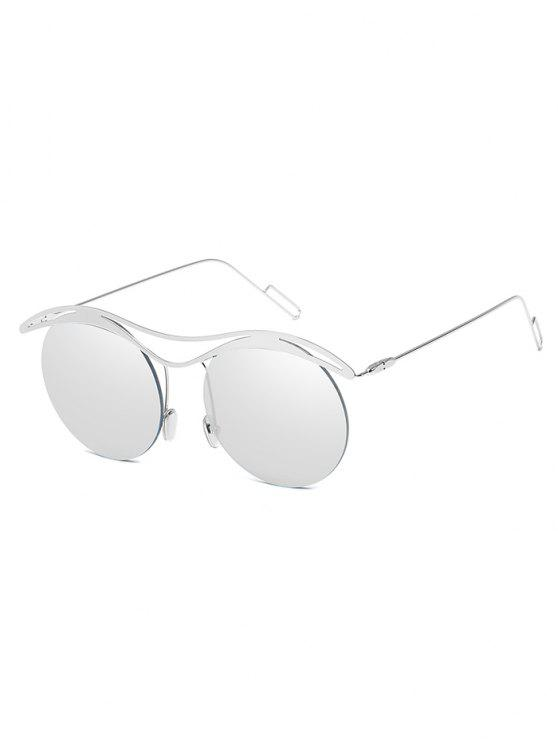 outfit Anti Fatigue Round Lens Rimless Sunglasses - PLATINUM