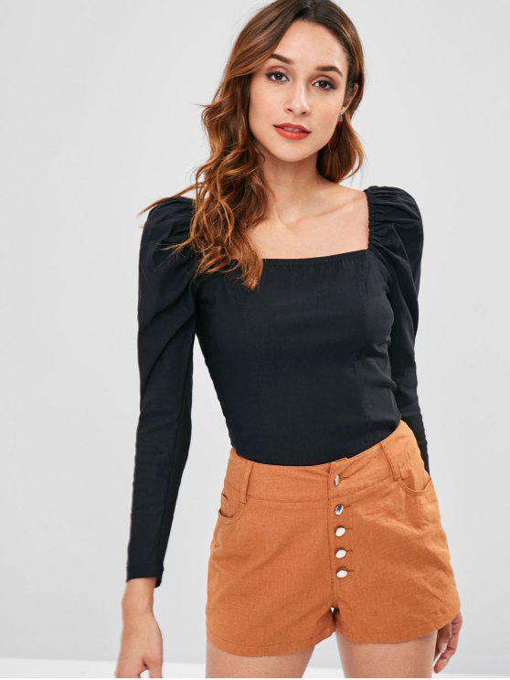best Raglan Sleeve Solid Color Top - BLACK L
