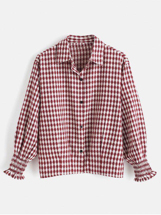 Chemise Plissée à Carreaux - Rouge Vineux S
