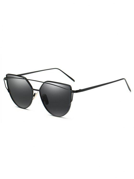 fashion Vintage Crossbar Flat Lens Sunglasses - BLACK