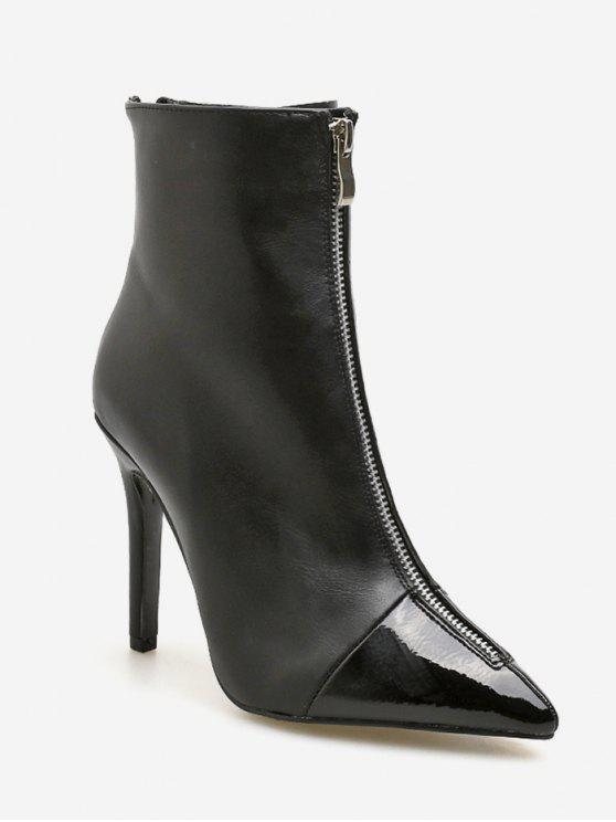 fancy Pointed Toe High Heel Ankle Boots - BLACK EU 36