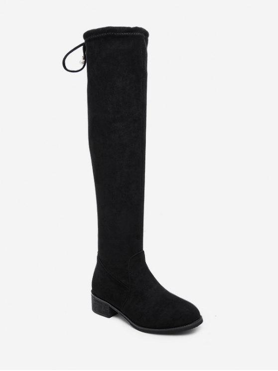 buy Low Heel Drawstring Over the Knee Boots - BLACK EU 40