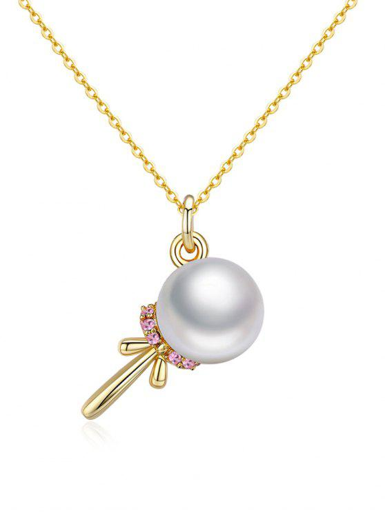 ladies Elegant Faux Pearl Silver Necklace - WHITE