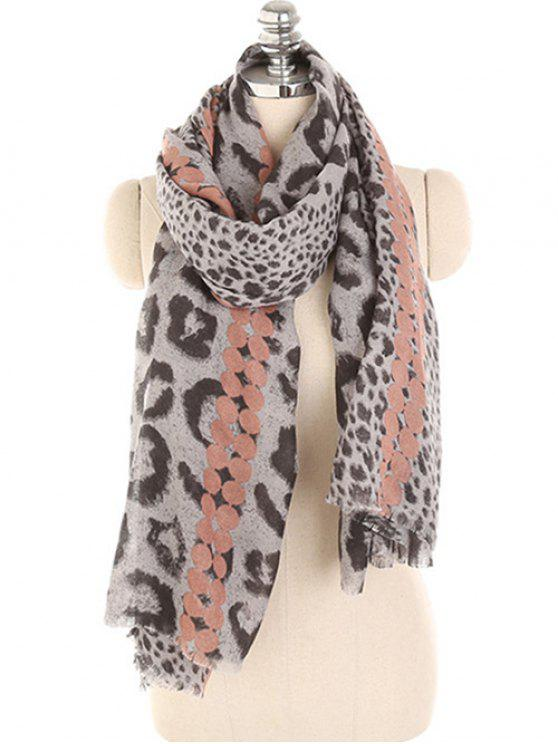 lady Leopard Print Lightweight Winter Scarf - KHAKI ROSE