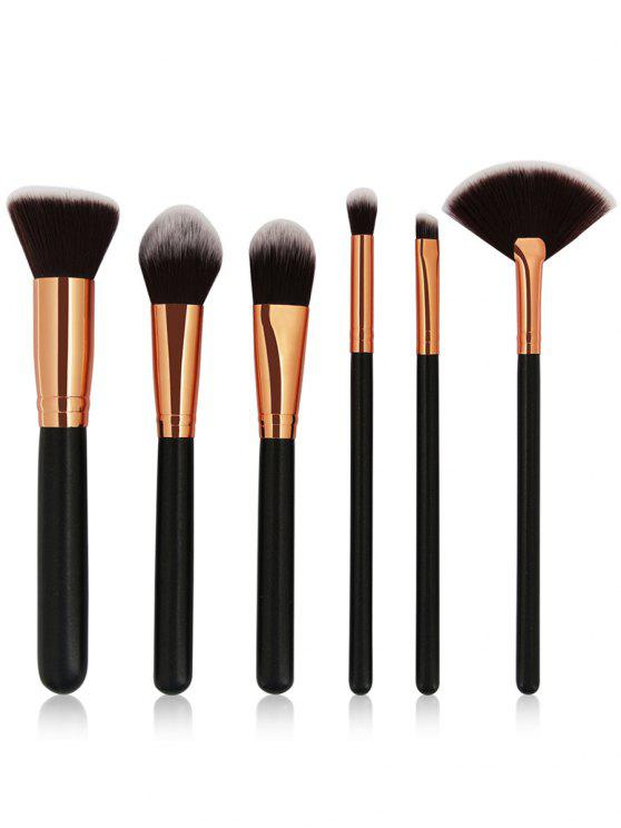 outfit Cosmetic 6Pcs Wooden Handles Travel Makeup Brush Set - BLACK