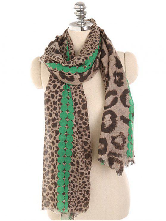 Écharpe d'hiver légère imprimée léopard - Vert Printemps Moyen