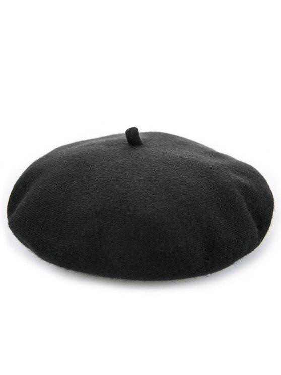 Élégant béret d'hiver de couleur unie - Noir