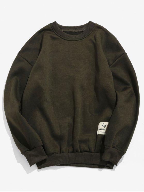 ladies Patch Detail Solid Fleece Sweatshirt - ARMY GREEN S