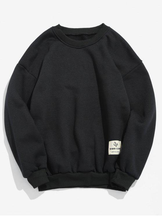 Patch Detail Solid Fleece Sweatshirt   Black S by Zaful