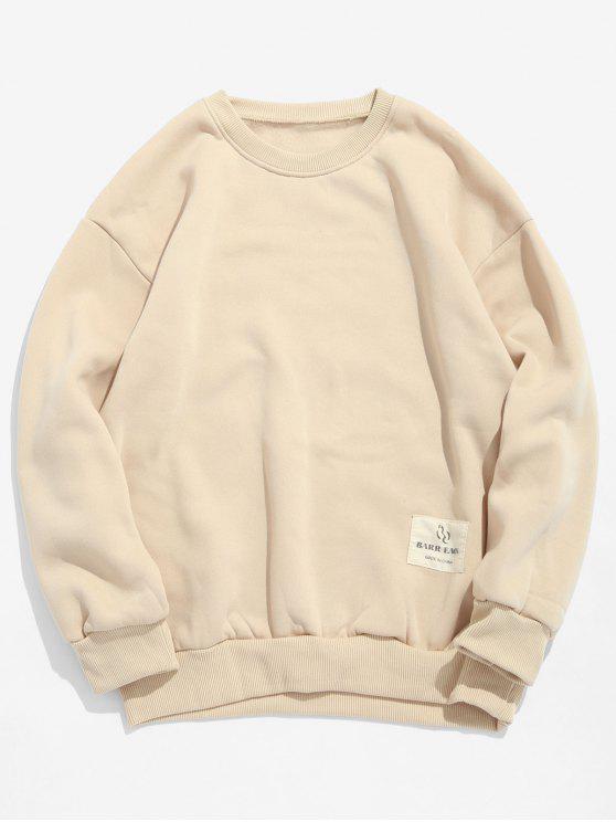 best Patch Detail Solid Fleece Sweatshirt - LIGHT KHAKI S