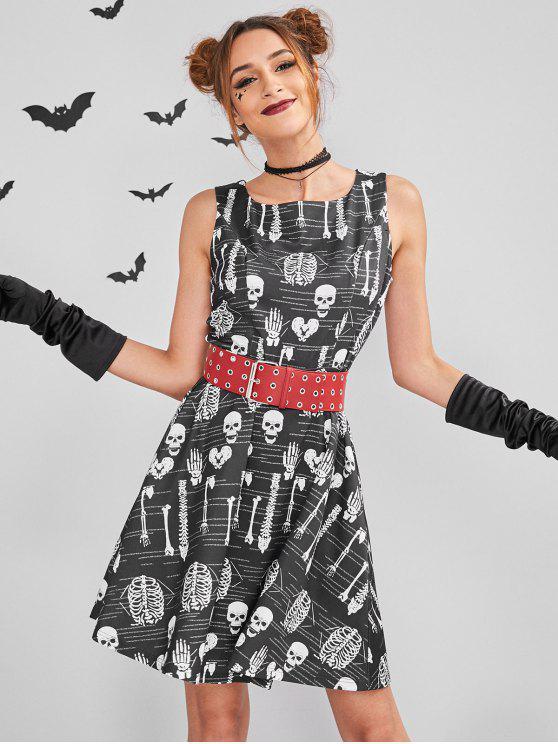 sale ZAFUL Skull Mini Halloween Costume Skater Dress - BLACK L