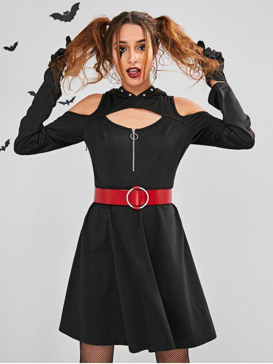 affordable ZAFUL Cut Out Halloween Costume Skater Dress - BLACK S