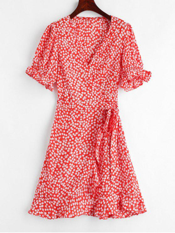 shop Floral Print Mini Wrap Tea Dress - RED S