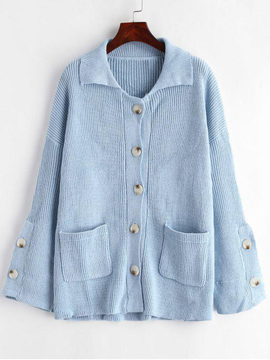 chic Patched Pockets Button Up Cardigan - JEANS BLUE ONE SIZE