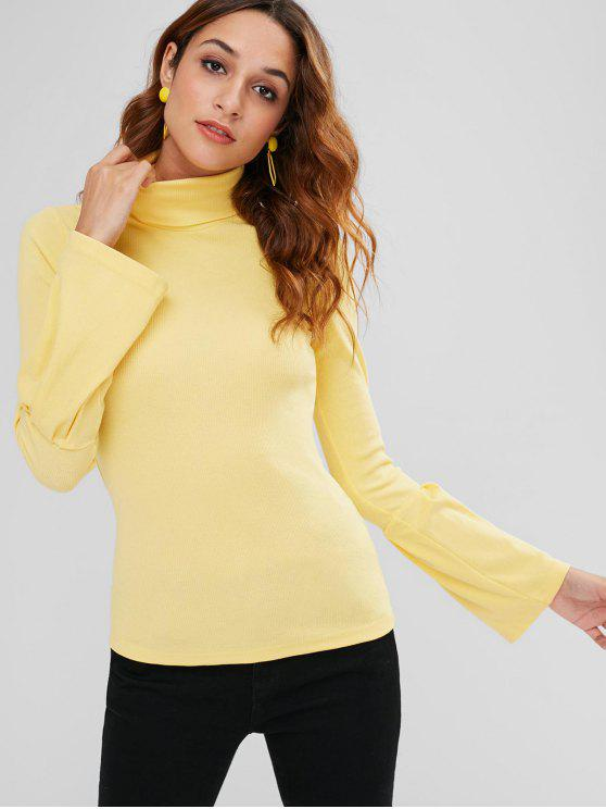 outfits Bell Cuffs Ribbed Turtleneck Sweater - YELLOW L