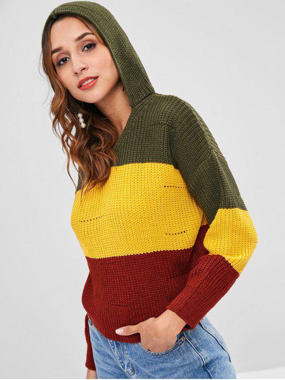 Suéter grueso con capucha en color block - Amarillo Única Talla