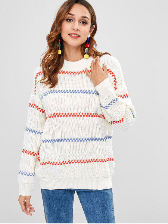 Jersey de jersey a rayas con cuello redondo - Blanco Única Talla