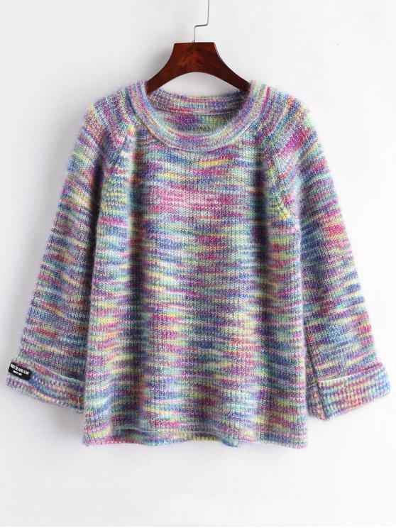 Suéter de manga raglán con cuello redondo - Multi Única Talla